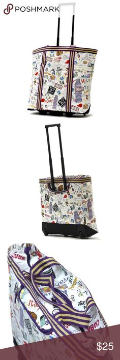 Rolling Shopper Tote Used once/like new                                                 Lightweight                                                           Spacious main compartment                                Retractable handle with hideaway zippered closure, wheels                                                      Exterior dimensions: 19 inches high x 17 inches wide x 8 inches deep Olympia Bags Totes