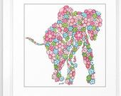 Children's Art Print 8 x 10  Pink Elephant Nursery Art Girls Art Print Nursery Decor Child's Room Floral Art Sweet Art