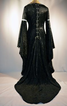 Night Sky Gown, a black and silver Medieval dress, for sword and sorcery fantasy cosplay, Dark Elf costume, OOAK