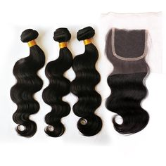 Amazon.com : SpringHair 6A Grade Virgin 3 Bundles Body Wave Peruvian Human Hair 16 18 20 Inch With 1pc 4 4 Free Part Hair Lace Top Closure 12 Inch : Beauty