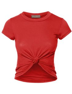 Give your outfit a stylish look with this slim fit front knot tie crop top!  This top is made with very soft and stretch material that is super  comfortable ... 13ee52233897