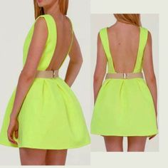 How to Chic: NEON GREEN SKATER DRESS