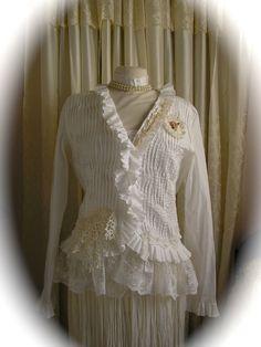 White Blouse Ruffles, refashioned clothing, shabby cottage chic style, romantic lace altered embellished womens LARGE