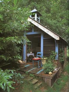 "Hidden cabin on ""Solitude"" Lane ... (: #cabin Porch, outdoors, veranda, nature living, light blue"