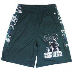 SKINLESS Trample Gym Shorts Trample The Weak Hurdle The Dead Album Art & Camouflage Stripes Gym Shorts  #rockabilia #merchandise #merch #music  #entertainment #bands #metal #rock #hardcore #shorts #sweatpants #records#skinless