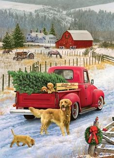 Vintage christmas scenes navidad ideas for 2019 Christmas Red Truck, Christmas Scenes, Christmas Art, Winter Christmas, Christmas Decorations, Christmas Ornaments, 1950s Christmas, Christmas Canvas, Christmas Tree Farm