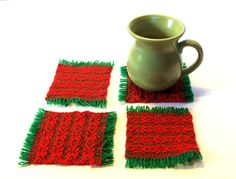 Coasters Red and Green HANDWOVEN Christmas Mug by InJoyEmporium #teamupcyclers