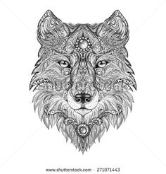 Tattoo head wolf wild beast of prey. Handmade black and white graphics - stock photo