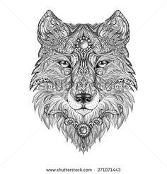 Tattoo head wolf wild beast of prey. Handmade black and white graphics - stock photo