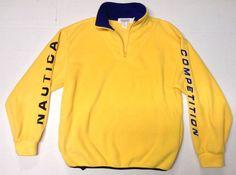 Vintage Nautica Competition Fleece Sweatshirt Yellow & Blue Large USA Pullover #Nautica #FleeceTops