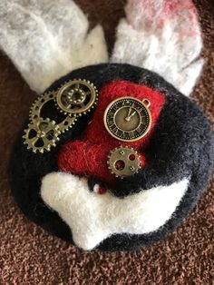 Handmade Brooch Made From Rabbit Head, White Rabbits, Felt Brooch, Brooches Handmade, Red Hats, Needle Felting, Steampunk, Feather, Decorations