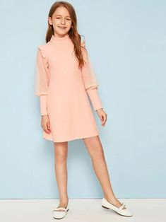 To find out about the Girls Frill Trim Swiss Dot Leg-of-mutton Sleeve Dress at SHEIN, part of our latest Girls Dresses ready to shop online today!