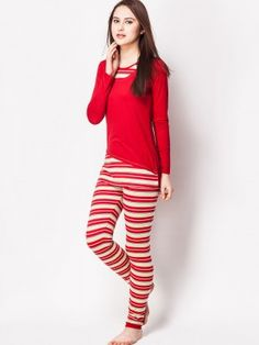 0707635ec6 MADAME Nightsuit With Striped Pattern at koovs.com Night Suit For Women,  Madame Red