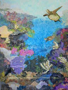Honu Harmony, by Eileen Williams,Cedar Point, NC Sea Turtle Quilts, Sea Turtle Art, Fiber Art Quilts, Art Quilting, Quilt Art, Crazy Quilting, Ocean Quilt, International Quilt Festival, Surf
