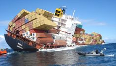 Ocean Container Accidents | The Liberia-flagged Rena after it struck New Zealand's the Astrolabe ...