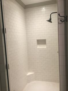 NEW STOCK TILE AVAILABLE AT DUGAN'S! :) Soft white Nanda subway tile- master shower