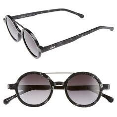 9066d92dfe1c67 Women s Komono Vivien 46Mm Round Sunglasses ( 120) ❤ liked on Polyvore  featuring accessories, eyewear, sunglasses, black marble, lens glasses,  komono ...