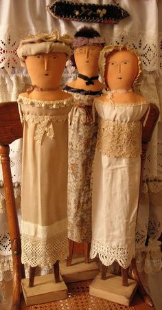 """Three dolls inspired by 1812 French Wooden dolls   These gals are 30"""" tall."""