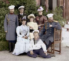 Tsarevich Nicholas, Grand Duke George, the Empress Maria Feodorovna, Grand Duchess Olga, Grand Duke Michael, Grand Duchess Xenia and Tsar Alexander III.   Livadia, Crimea. May 1893.