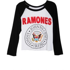 Ramones Raglan Tee ❤ liked on Polyvore featuring tops, t-shirts, shirts, long sleeves, long-sleeve shirt, long length t shirts, t shirt, long-sleeve peplum top and long shirts