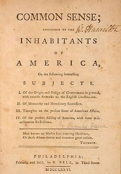 (1776) A pamphlet written by Thomas Paine that called for the United States to declare independence from Britain immediately. Written in a brisk and pungent style, Common Sense had a tremendous impact and helped to persuade many Americans that they could successfully wage a war for their independence.