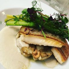 Halibut Asparagus & brown shrimps in an Oyster veloute @riddleandfinns #brighton #seafood