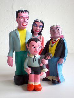 '60s munsters squeak toys: herman, lily, eddie, grandpa