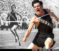 Louis Zamperini running and actor Jack O'Connell in the Unbroken movie. See 'Unbroken: History vs. Hollywood' - http://www.historyvshollywood.com/reelfaces/unbroken/