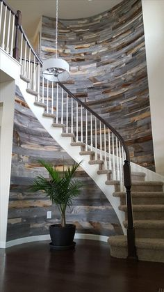 Don't try this at home. But don't try it with a traditional reclaimed wood product. Stikwood thin planks are versatile, durable and easy to work with. This application of Reclaimed Weathered Wood on a curved staircase is stunning. Curved Walls, Curved Wood, Curved Staircase, Staircase Ideas, Grand Staircase, Weathered Wood, Wood Planks, Stairways, My Dream Home