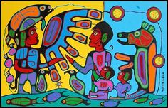 Thunderbird Shaman Teaching People | Shamanistic Art by Norval Morrisseau I just won highest bid for a framed print of this in a silent auction fundraiser for a local hospital.
