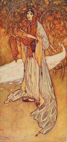 'Scheherazade, the heroine of the Thousand and One Nights.' Illustration by Edmund Dulac from 'Stories from the Arabian Nights' - Retold by Laurence Housman. Publishe by George H. Doran Company (1907).archive.org