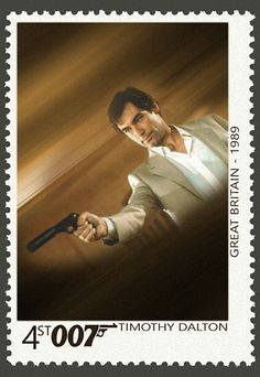 Timothy Dalton by Anna Victoria Dalton James, Timothy Dalton, Uk Stamps, Laurence Fox, James Bond Party, Postage Stamp Art, Movie Magazine, Pop Culture Art, First Day Covers