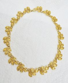 Signed Napier Necklace Gold Tone Leaf Link by LadyandLibrarian, $24.00