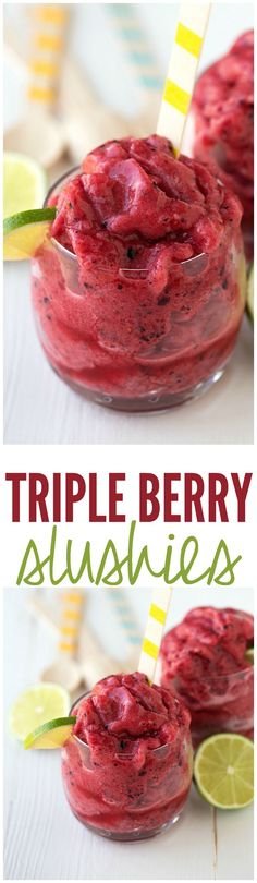 These Triple Berry Slushies are delicious and the perfect thing to keep you cool this summer!