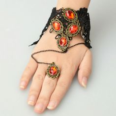 Alloy Arm Chain and Ring Set with Five Red Rhinestone Design Charm Bracelets Black and Red