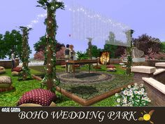 Do your sims dream their wedding day decorated with a bright color palette of colours? Do they adore fresh Found in TSR Category 'Sims 3 Community Lots' Boho Wedding, Wedding Day, Sims 3, Garden Bridge, Outdoor Structures, Patio, Colours, Outdoor Decor, Video Games