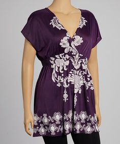 Another great find on #zulily! Purple & White Filigree Tunic - Plus by Life and Style Fashions #zulilyfinds