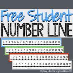 Free Student Number Line I created this simple number line to help my students. Student Numbers, Teaching Numbers, Numbers Kindergarten, Math Numbers, Preschool Math, Math Classroom, Teaching Math, Subtraction Kindergarten, Maths