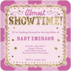 Almost Showtime - Baby Shower Invitations - Hallmark - Peony Pink