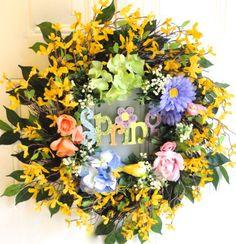 Spring Forsythia Front Door Wreath with Roses, Hydrangeas, Gerber Daisies, Word Spring In Glittery Colors, Three Birds