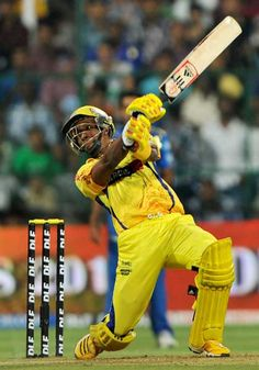 Chennai Super Kings batsman Dwayne Bravo plays a shot during the IPL Twenty20 cricket eliminator match between Chennai Super Kings and Mumbai Indians at the M. Chinnaswamy Stadium in Bangalore on May 23, 2012.
