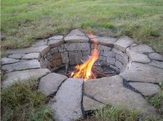 I like the irregular stones set in grass, even for a level fire pit.