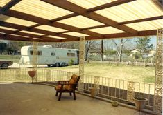 Fiberglass deck roof would provide shade, but let a lot of light through.