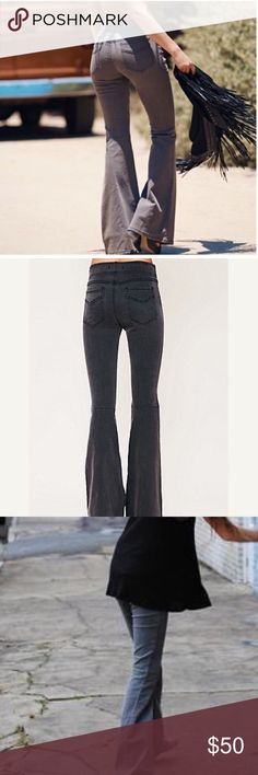 Free People Grey Pull On Kick Flare Jeans 26 This is a pair of Free People pull on kick flare jeans. Size 26. Mint condition. Made of 77% cotton 21% polyester 2% spandex. Heather grey. Free People Jeans Flare & Wide Leg