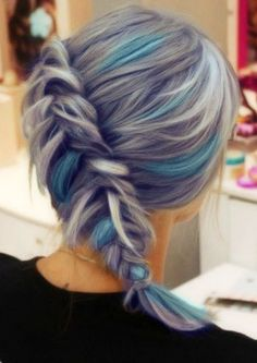 I love this.. and since my hair wants to be gray, this would be a good mash ..Purple Hair Blue Hair Highlights Side French Fishtail Braid