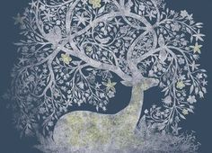 And on the sacred night when the sun is reborn, look for Mother Christmas waiting silently as a deer in the temple of nature, carrying a bird in her horns.