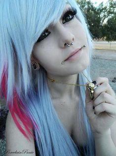 pretty hair, want the side lip piercing