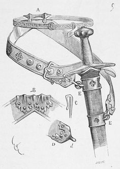 Diagram of medieval sword belt, one style of fastening scabbard to the belt.