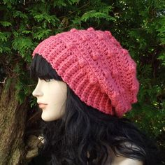 Lipstick Pink Slouchy Crochet Hat  Womens by ColorMyWorldCrochet