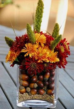 acorn and fall flowers